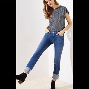 Loft Modern Straight Cuffed Jeans